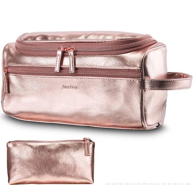 Bolsas de cosméticos Organizador de la PU impermeable de gran capacidad Hook baño bolsa de lona bolsa de lavado Inicio Bolsas de almacenamiento