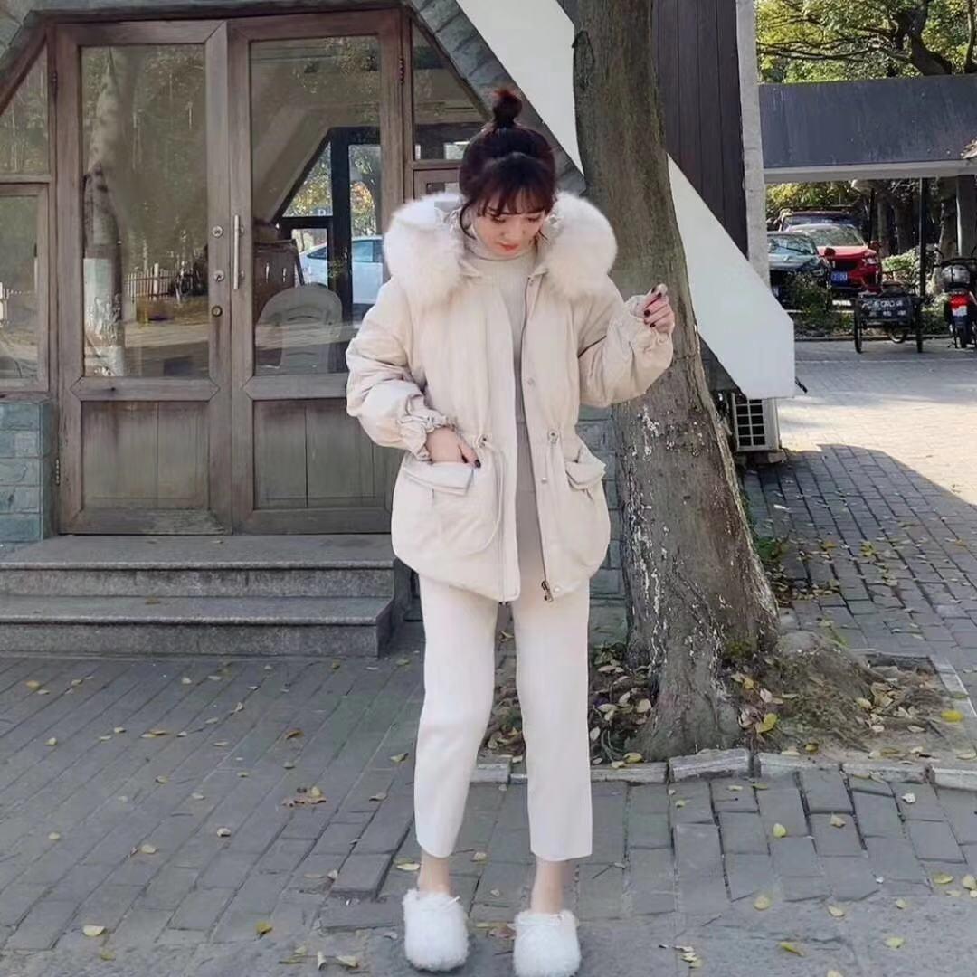 Di lunghezza media dimagrante di stile giacca Fb0n8 Zebib Dongdaemun 2020season Donne Giù coreano giù colletto della giacca di pelliccia grande sciolto Fox