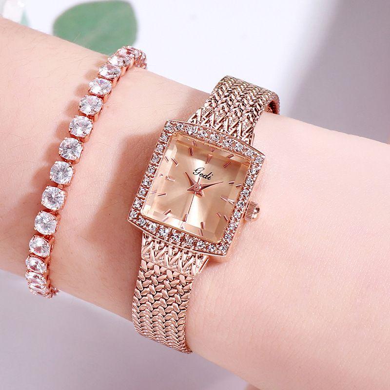 Diamante del reloj de cuarzo Mujer de lujo de la correa cuadrado retro relojes de señoras de la moda para la Mujer marca de fábrica superior de acero inoxidable reloj 2020 regalo