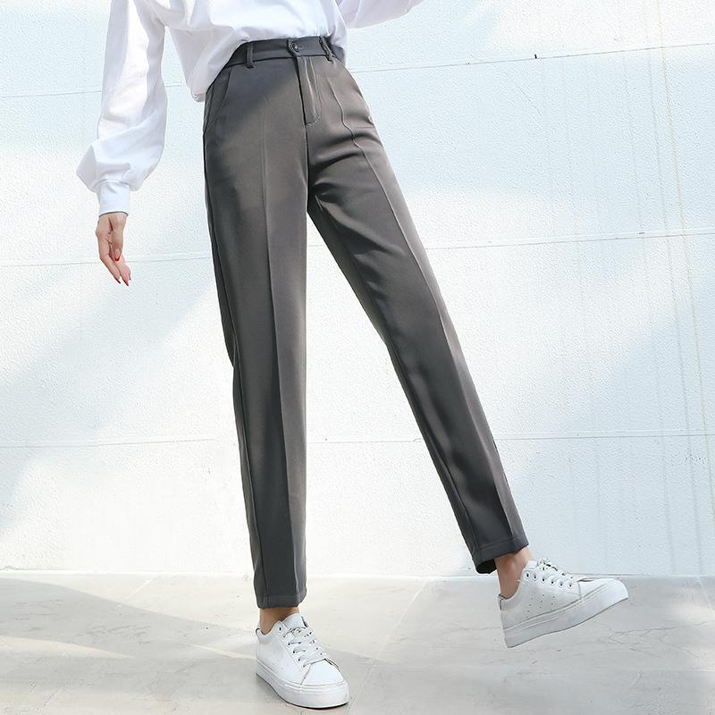 Donne Suit Pants 2020 Vita casuale elastico primavera-estate Moda Femminile formale Harem mutanda diritta pantaloni Office Lady Pantalon CX200810