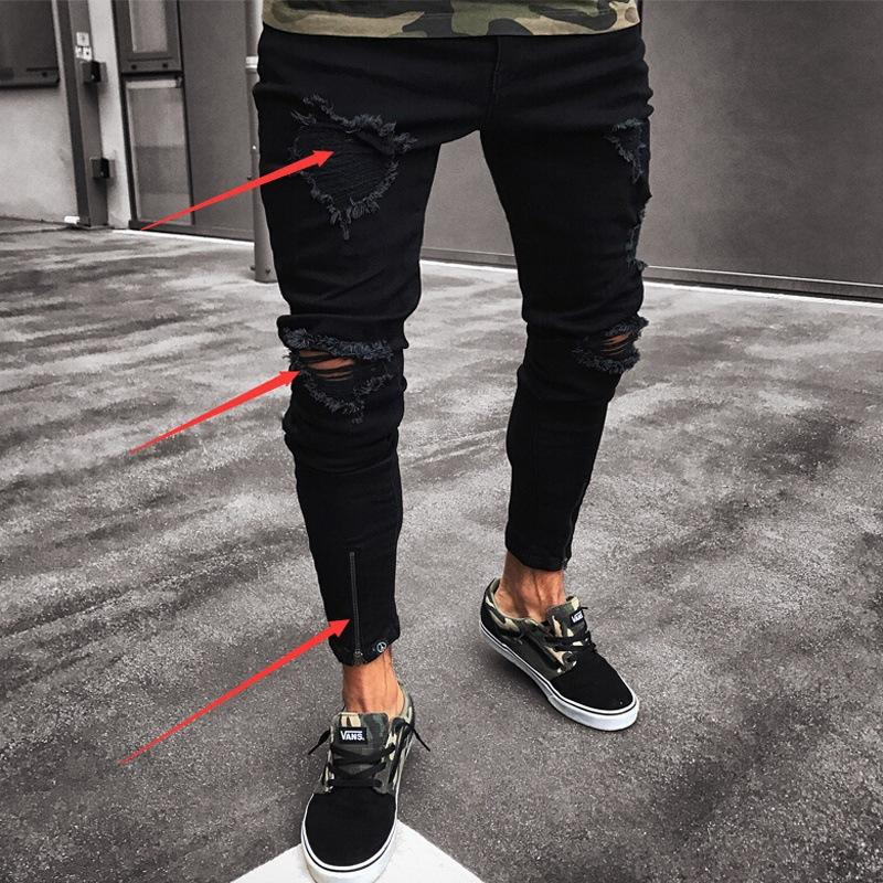 Hommes Jeans Trou Noir extensible Ripped Retro Black Washed Casual Denim Distressed Vintage Faux tirettes de haute qualité