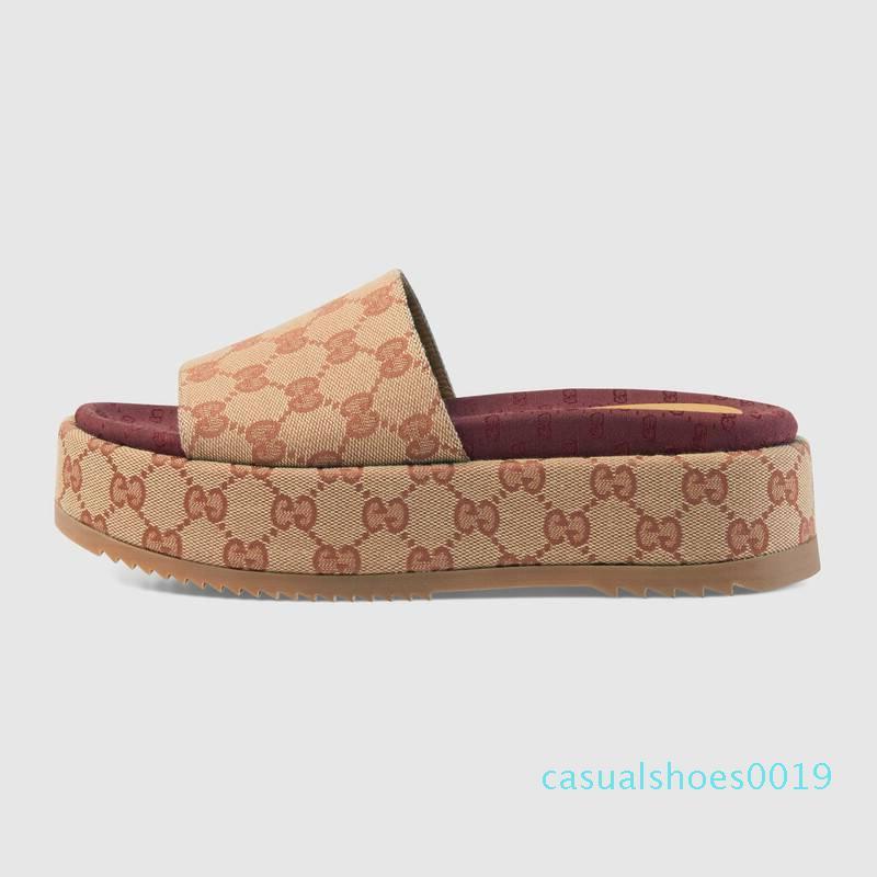 Hakiki deri Kadın Originals ile Tuval nakliye sandal Yüksek kaliteli luxurys çevirme tasarımcıları 35-40 19c sandal flop slayt