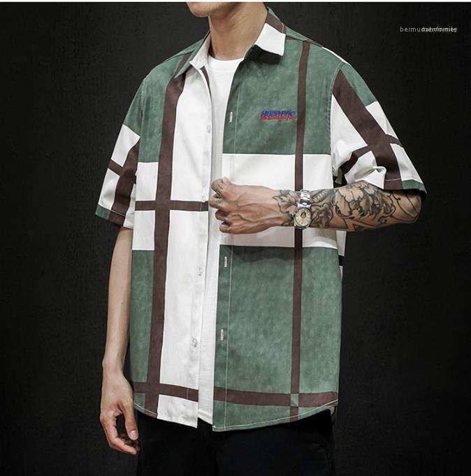 Camisa a cuadros camisa floja de Casual Male Ropa para hombre 2020 camisas de lujo de diseño de verano de los hombres de manga corta