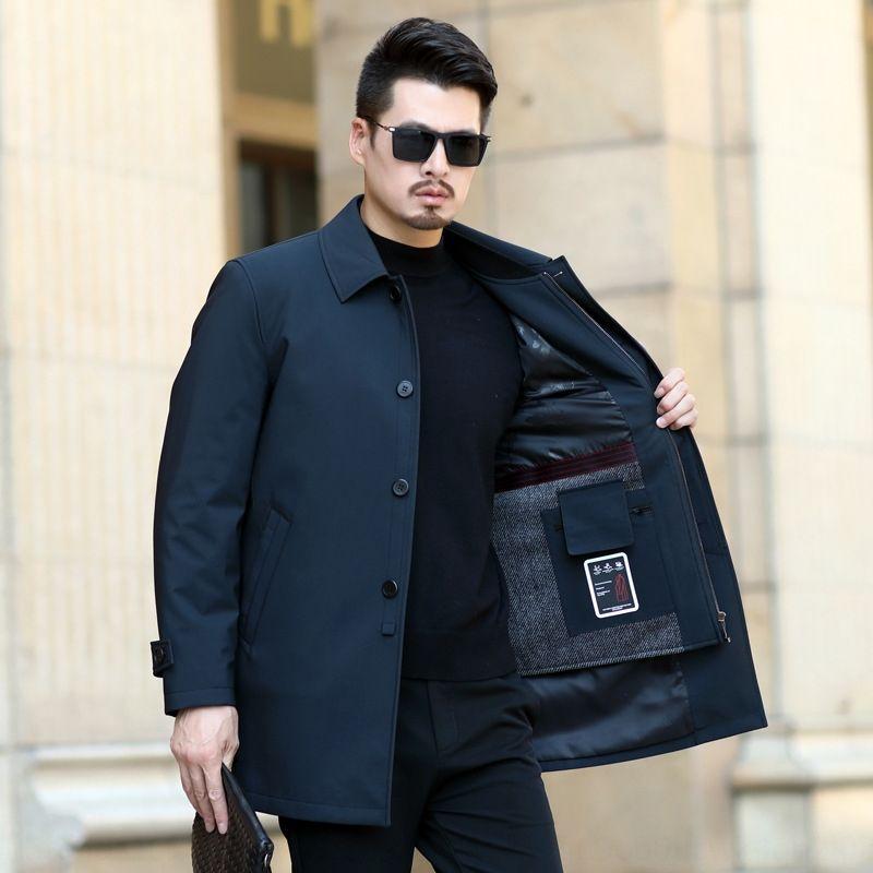 Brasão blusão blusão de comprimento médio lapela trench coat de lã destacável moda forro dos homens de inverno à prova de vento de negócios jaqueta jaqueta casual