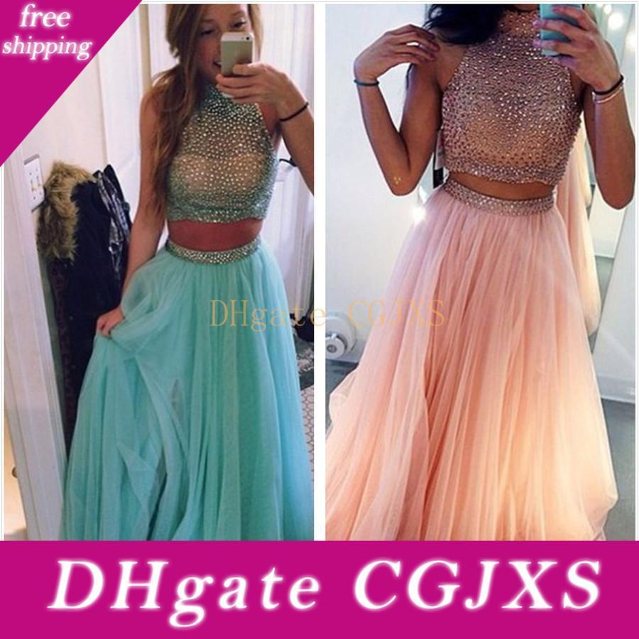 Hot Sale Blue Peach Two Piece Prom Dresses Beaded Tulle Formal Evening Gowns Fast Shipping Cheap Prom Dresses 2017 Vestidos Festa