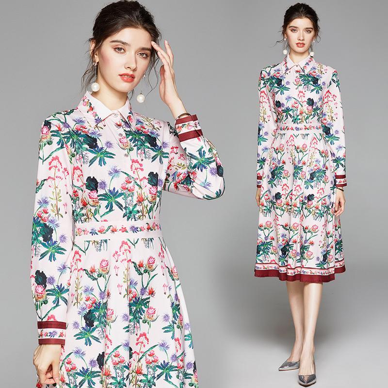 Yeni Geliş 2020 İlkbahar Yaz Sonbahar Pist Çiçek Baskı Yaka Uzun Kollu İmparatorluğu Bel Kadınlar Bayanlar Casual Parti Plaj A-Line Midi Elbise