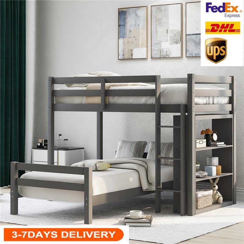 US Lager, 2020 Grau Twin-Size-Over Einzelbett mit Leiter und Schutzgeländer, großes Bett mit Regale für Kindererwachsene LP000021AAE