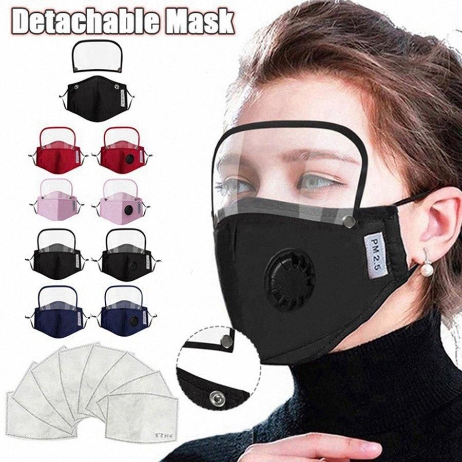 2 en 1 Masque Visage Valve avec bouclier amovible yeux anti-poussière lavable facial de protection écran facial Masques Designer Avec 2 filtres # i08F ARR