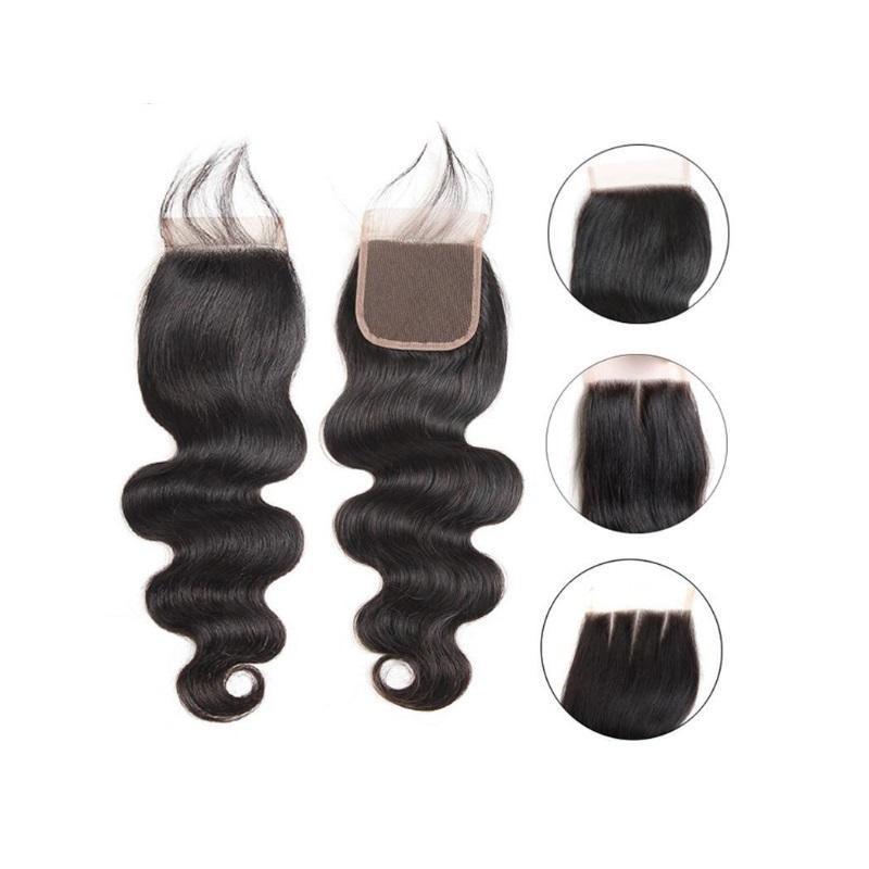 """10A 4x4 أعلى الرباط إغلاق البرازيلي العذراء جسم الإنسان موجة الشعر إغلاق الشعر الحرة ثلاثة الجزء 8 """"~ 22"""" غير المجهزة ريمي الشعر البشري"""