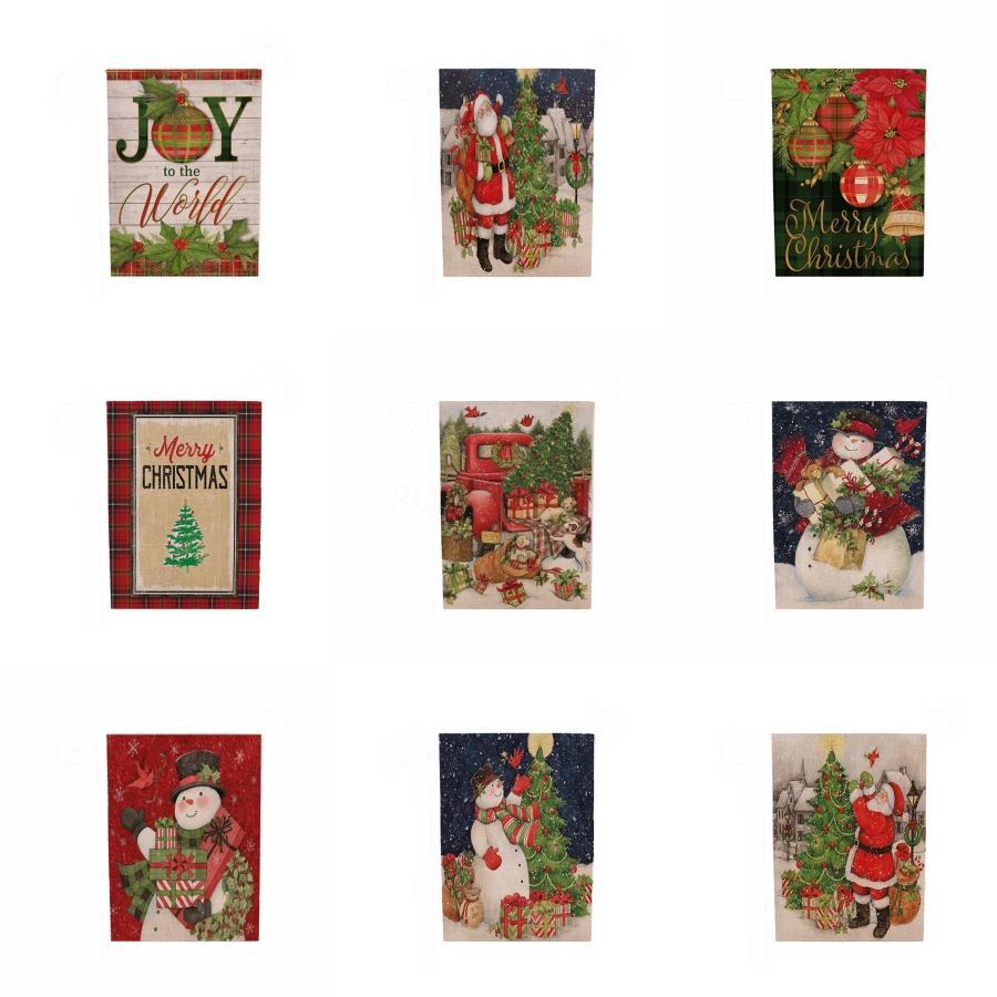 Рождество висячие флаги Рождество висячие украшения окна Hanging Flag Открытый Повесьте Полиэстер Сад Патио лужайки Флаги украшения # 854