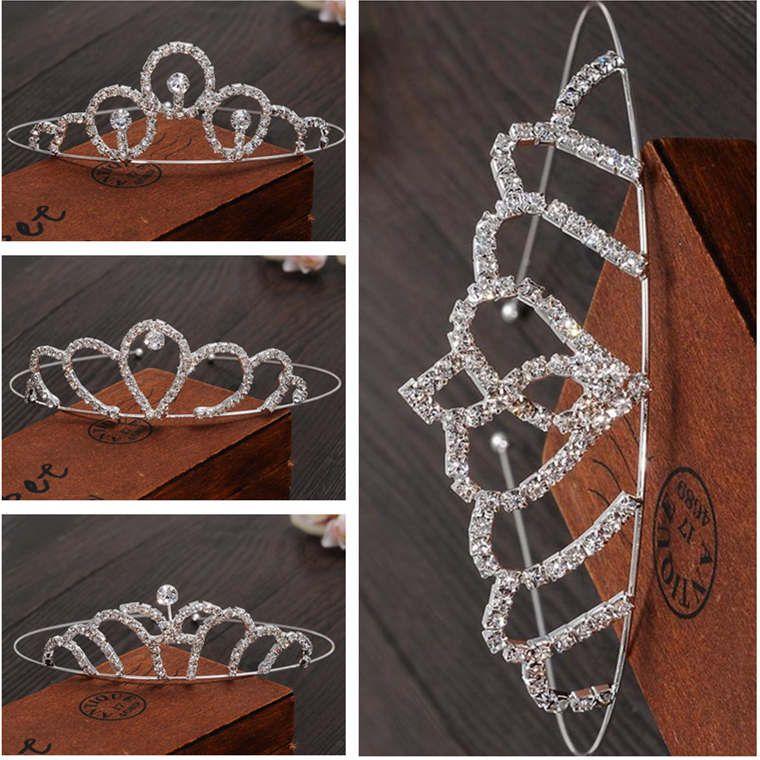 EPECKET DHL Free Ship Princess Crown Nupcial Tiara Boda Foto Estudio Rhinestone Crystal Crown Crown Color Hair Accessor DATG052 Joyería de pelo DIEADA
