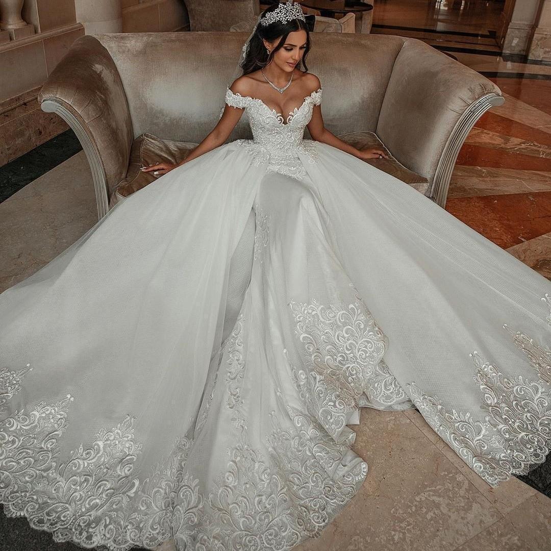 2021 Designer sereia Vestidos de casamento com destacável Train Off The Shoulder Appliqued vestidos de noiva longo Vintage saia desgaste do casamento