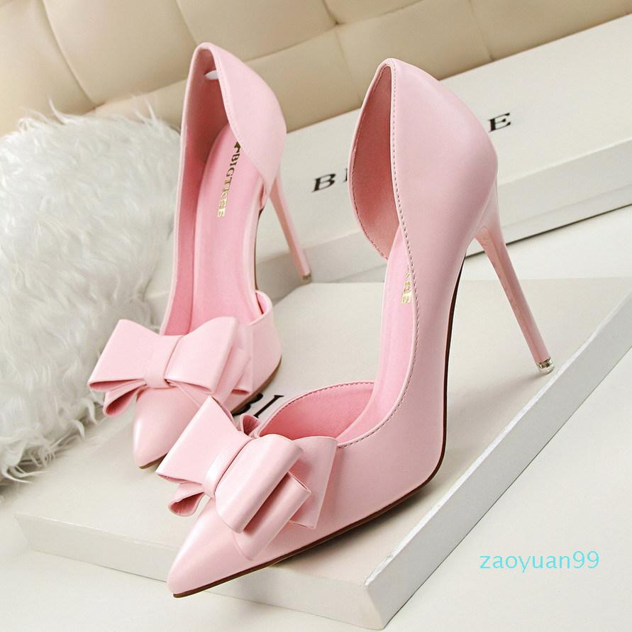 Sıcak Satış-Moda tatlı yay Yüksek topuklar stiletto topuklu sığ ağız sivri tarafı oyuk ayakkabı Kadınlar göstermek