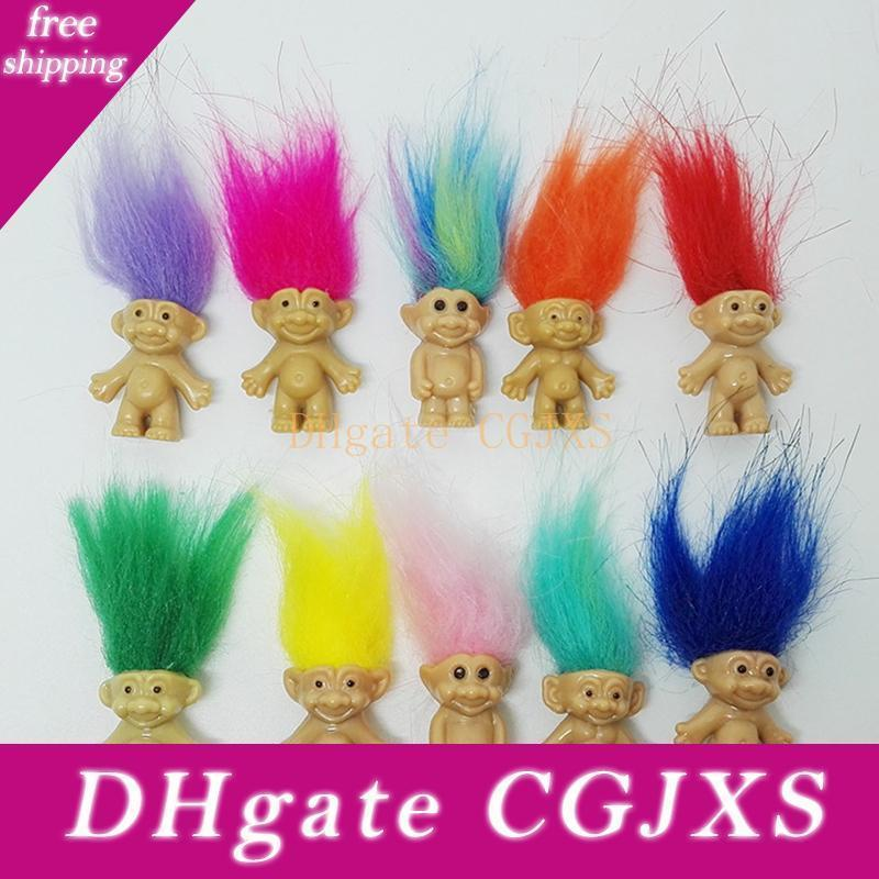Hot Sale Colorful Hair Troll Doll Family Members Dad Mum Baby Boy Girl Dam Trolls Toy Gift Happy Love Family