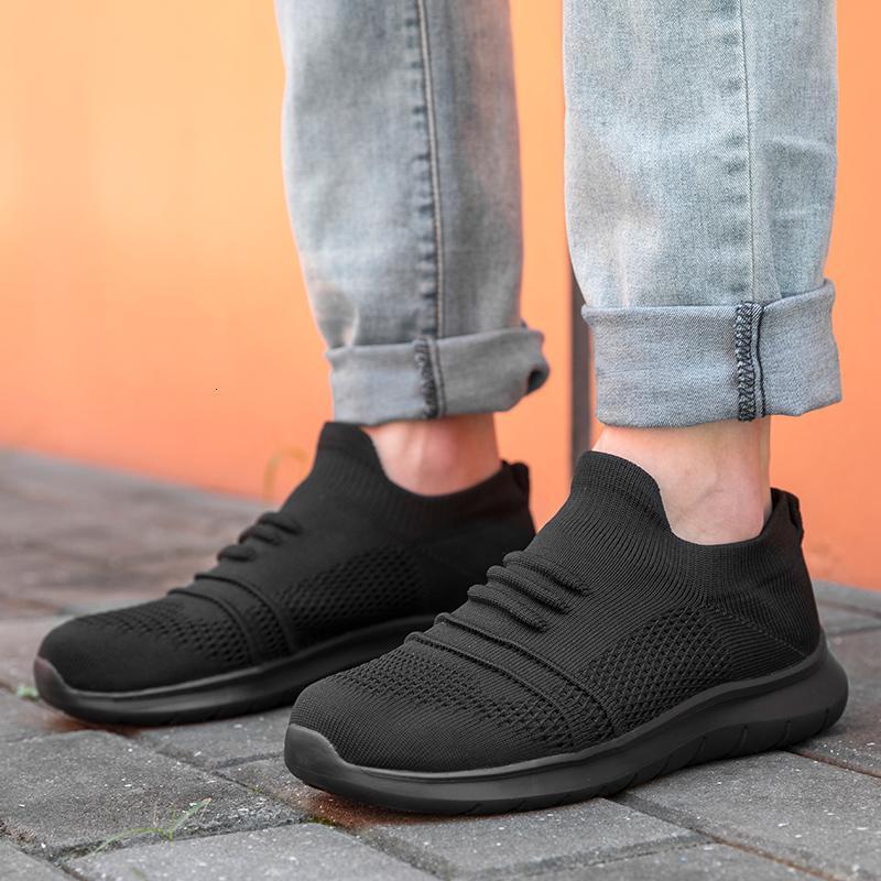 Sommer-Turnschuh-Mann-Slip-on Mans beiläufige Gehen Schuhe Leichte Knit Breathable Schuh Anti-Rutsch-Socken-Schuh-große Größe 50