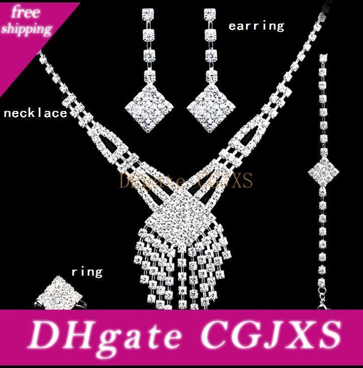 Four Pcs Jewelry Set Crystal Wedding Crown Earrings Necklace Tiaras Rings Bracelet Accessories Fashion Headdress Ht122