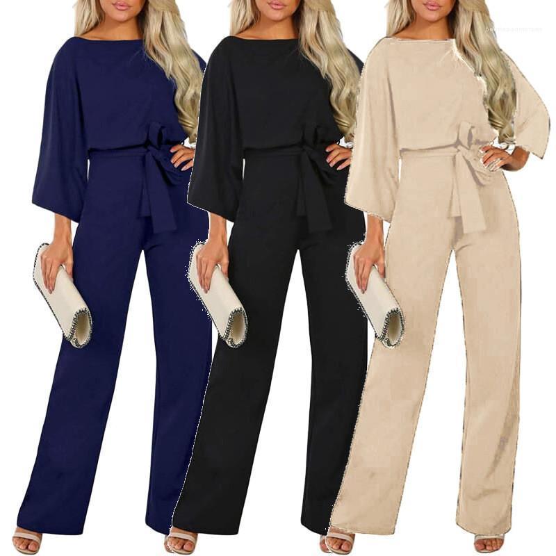Solido Colore tute Figura intera allentati Pantaloni Moda vestiti lunghi manica Womens progettista elegante Sashes Abbigliamento Donna