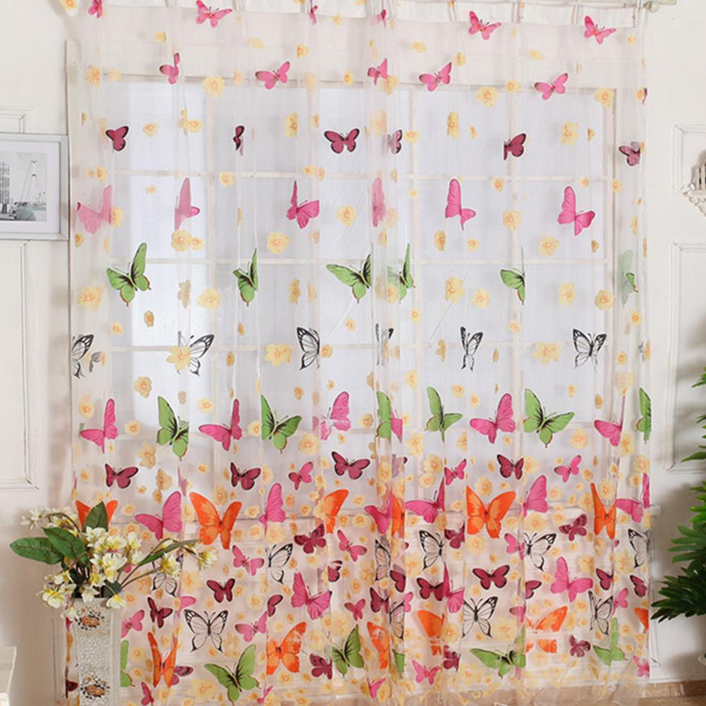 Цветочные бабочка печати Шторы занавесок Voile Тюль занавес окна