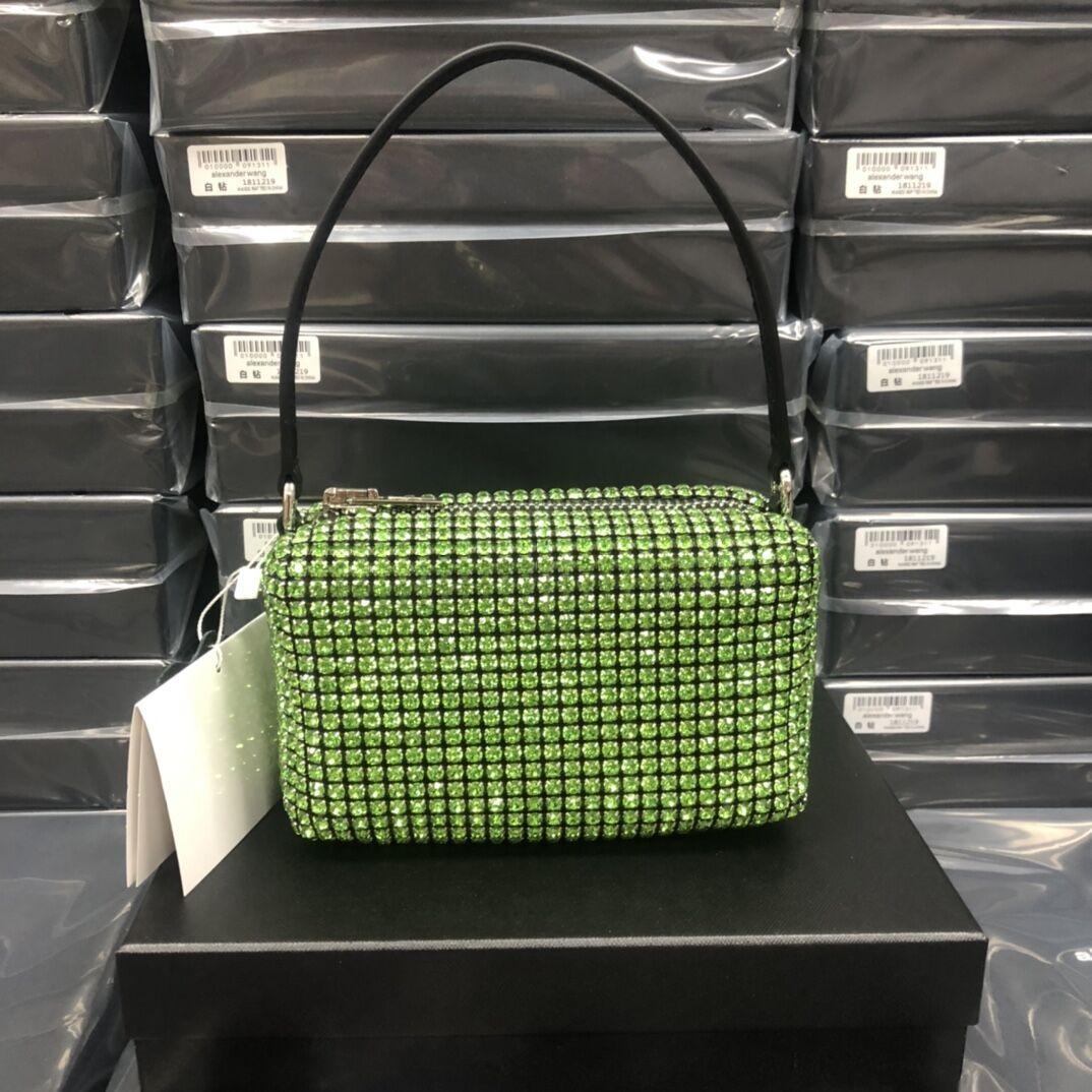 2020Ladies' new hot sale handbag with diamond-studded rivet style cowhide shoulder bag casual dating dinner fashion diagonal bag wallet