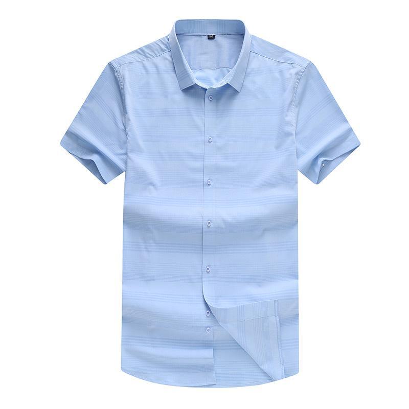 Smart Casual Fashion Plain Fitted Men Shirt Striped Print Dress Shirt Short Sleeve Summer Turn-down Collar Camisa Masculina
