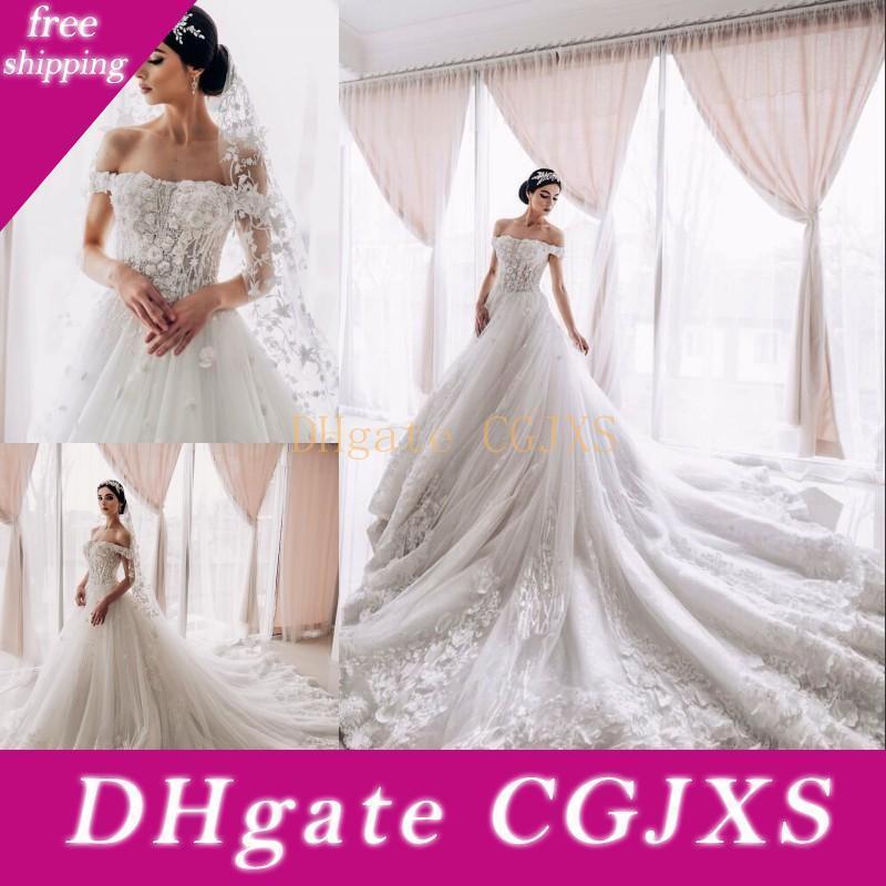 Dreamy Enchantment Tulle Wedding Dress com o 3D Flores elegante ombro Off Beading A Linha nupcial Vestido Glamorous Appliqued Vestidos de casamento