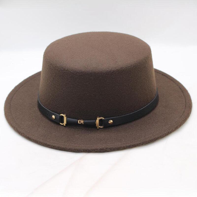 ورأى الكلاسيكية الصلبة لون قبعة فيدورا رجال نساء مزيج من الصوف كاب جاز بريم على نطاق واسع بسيط شقة قبعة