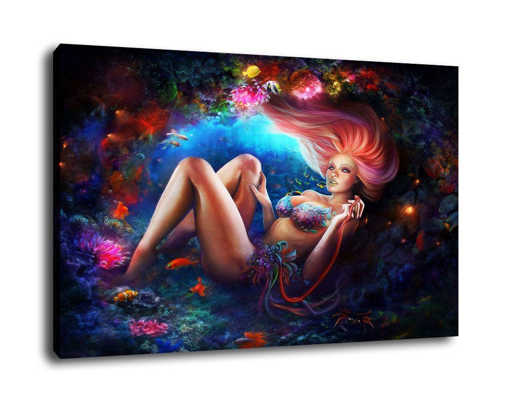 Arte da sereia do óleo impressão Pintura na parede da lona de arte moderna Modular parede Pictures Para Sala DecoB1895