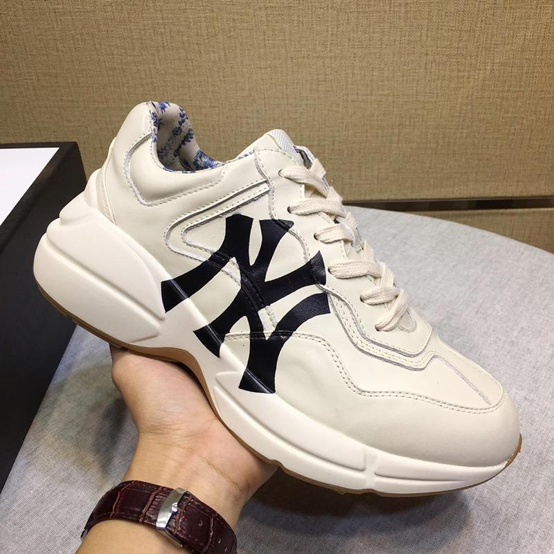 '; In pelle S Rhyton scarpa da tennis con la stampa Uomini'; Men S scarpe di moda classica leggera Sport Calzature bassa Lace-Up Top scarpe di lusso