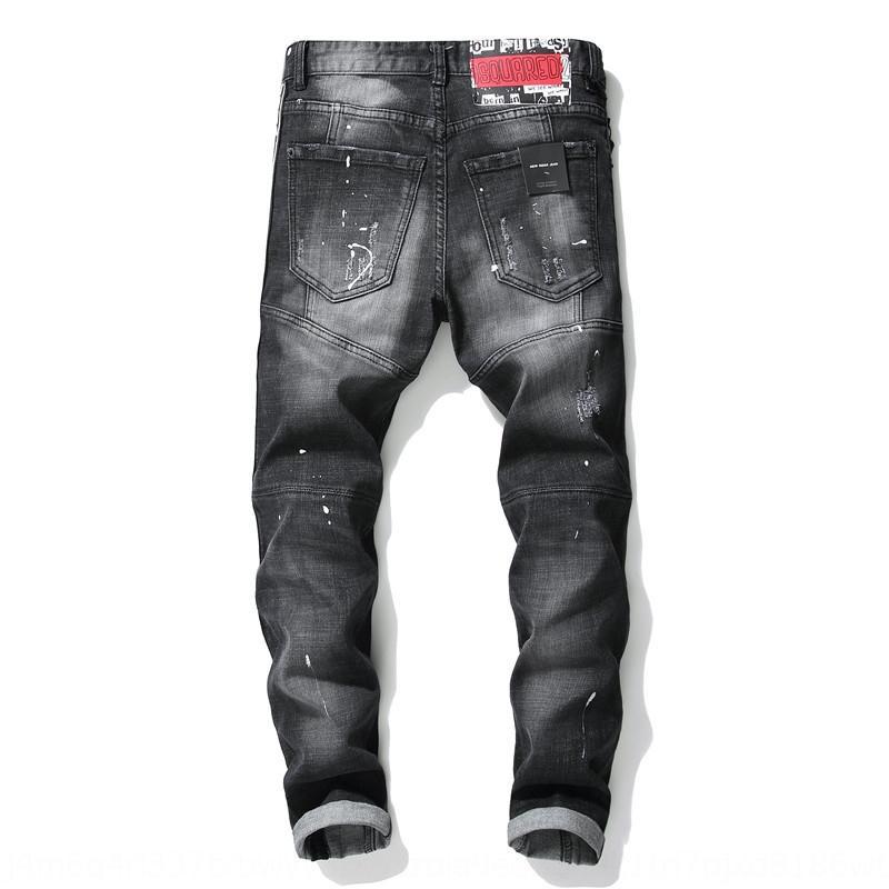 El otoño y el invierno nueva andrajos cepillado costura de estiramiento delgados pantalones vaqueros y pantalones ajustados negro de los hombres de los pantalones 1011 mendigo