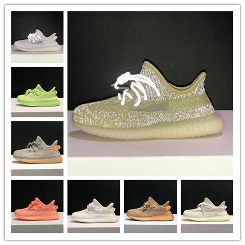 Kids boys girls Kanye 3M Reflective Running Shoes West Yecheil Static Glow Green Clay Toddler Children Trainers Sneakers