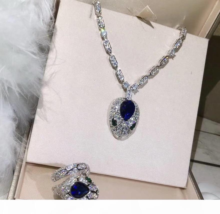 Yeni CZ elmas kristal mavi BAŞ kolye kolyeler tasarımcı 18K Altın kadınlar için parti takı kaplama