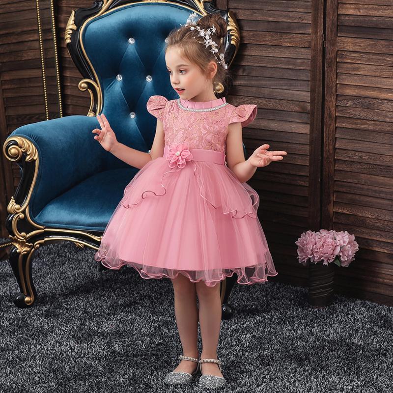 2020 Одежда для девочек Новые летние платья для девочек Летающие рукава платье принцессы цветок тюль Vestidos вскользь детей платье # G30