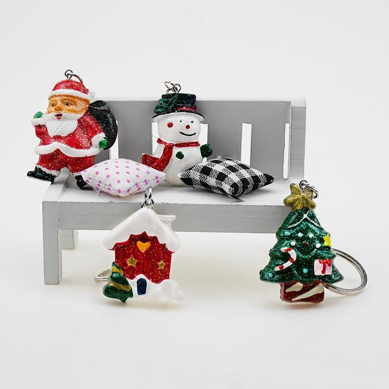 Keychain Weihnachtsschneemann-Ren-Haus Jingle Bell-Baum-Kranz-Strumpf-Schneeflocke Emaille Schmuck Auto Dekoration Schlüsselanhänger Geschenk