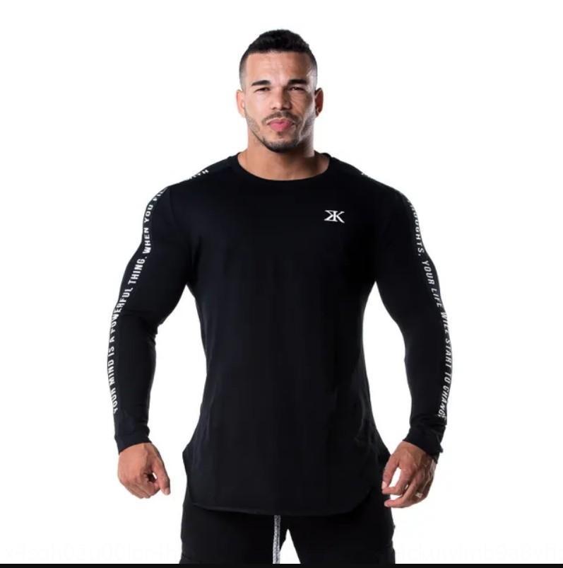 hermanos deportes de fuerza de manga larga Top medias Medias aptitud hermanos de fitness ropa de entrenamiento transpirable camisa de la base superior de los hombres curtidos YGOwz