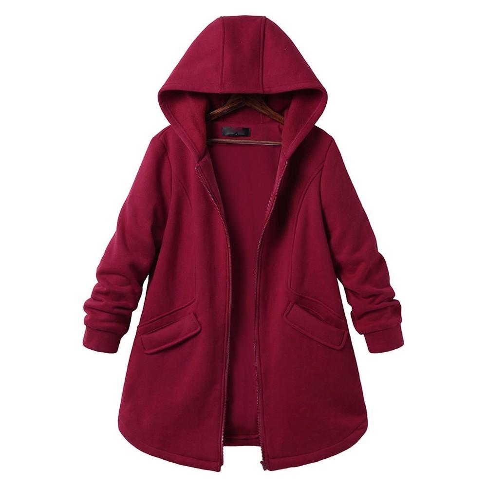 Manteaux de femme Plus Size manches longues Casual Pure Color Poches à capuchon Outweat vestes printemps automne féminin style coréen de LJ200813