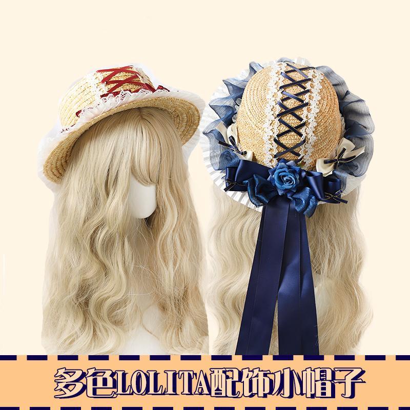 Gotik Tatlı lolit Retro Dantel Bow Şerit Straw şapka Daire Cap Mori Kız Pastorale Prenses Güneşlik El yapımı Dokuma Şapka Yaz