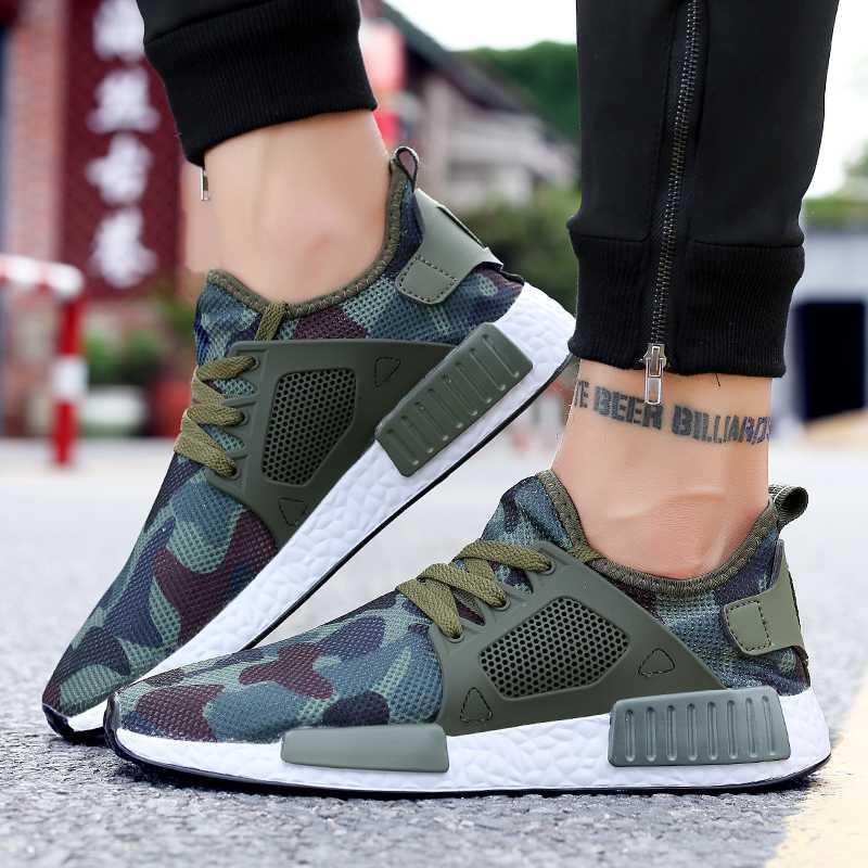 Zapatos para caminar los hombres zapatillas de deporte respirables comouflage entrenador de atletismo Flatfom las zapatillas de deporte zapatos masculinos ocasionales del tamaño 39-48