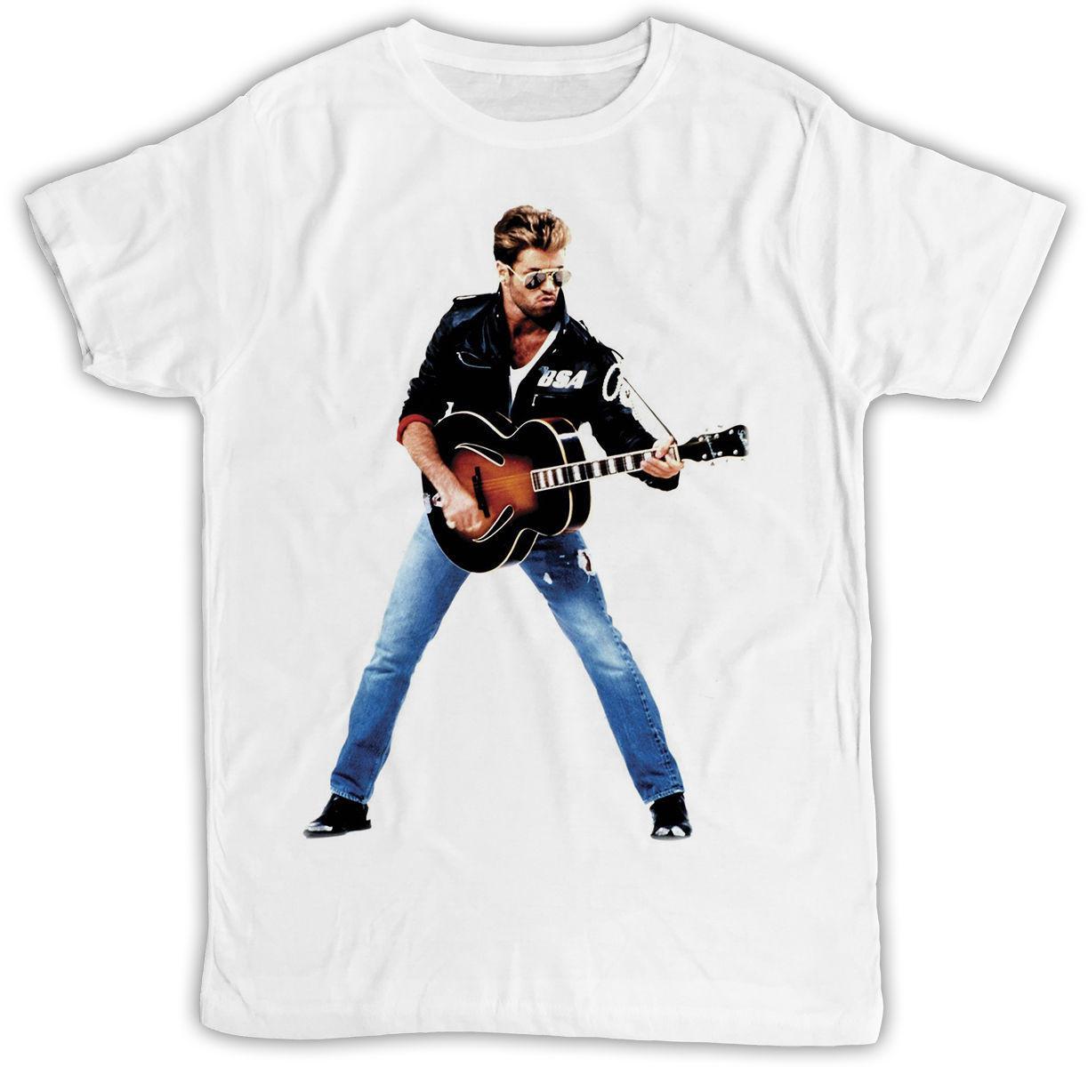 George Michael гитара Плакат идеальный подарок на день рождения Прохладный ретро футболки рубашки футболки