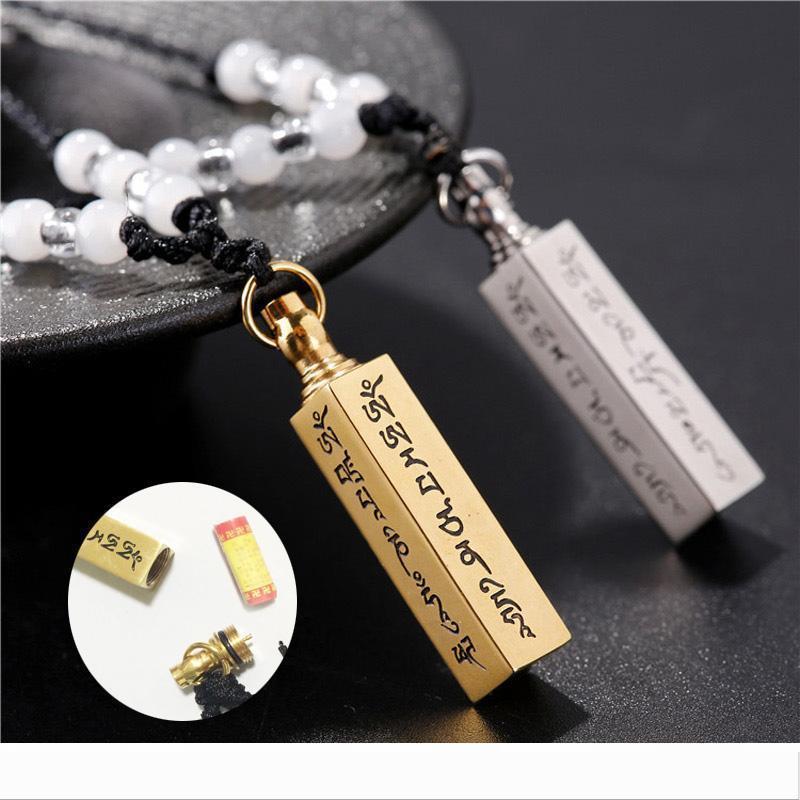 Designer 316L Stainless Steel Openable Buddhism Faith Jewelry Sanskrit Mantra Stupas Amulet Square Pendant Necklace For Men Women Ash Urn J
