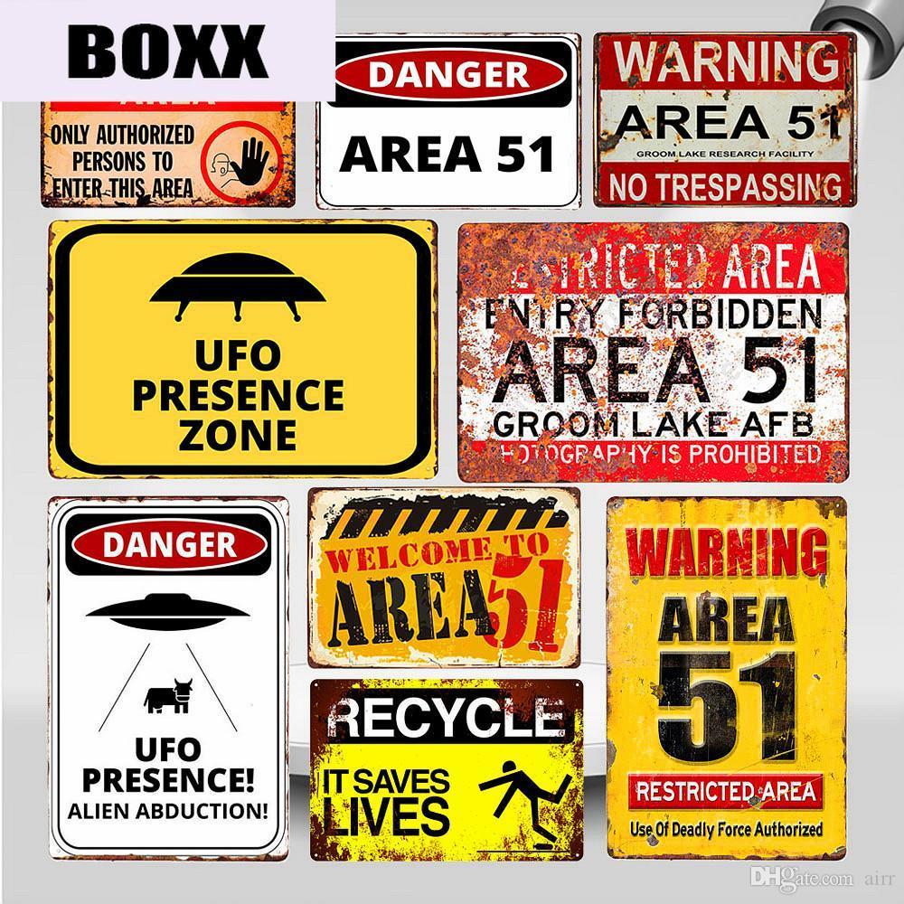 Advierten la muestra de la zona 51 de la vendimia la lata del metal UFO Área de Actividad Atención Peligro placa de la pared arte retro pegatinas Pintura Decoración