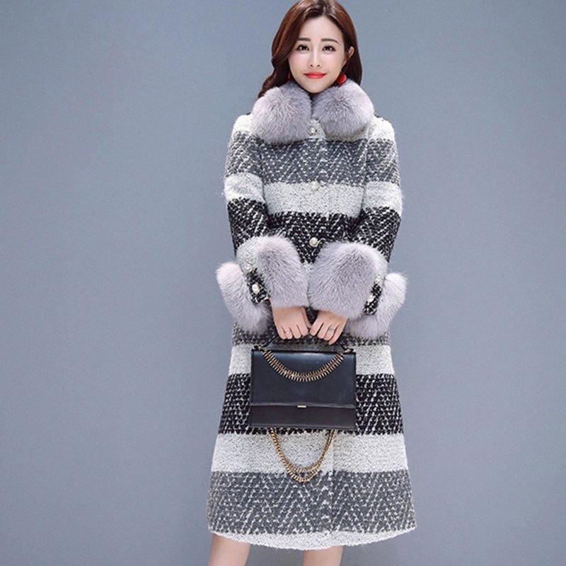 New Elegante Runway 2019 Brasão Designer inverno Lã Mulheres trincheira grosso casaco longo de cashmere Overcoat misturas de lã Jacket Femme 904 McMJ #