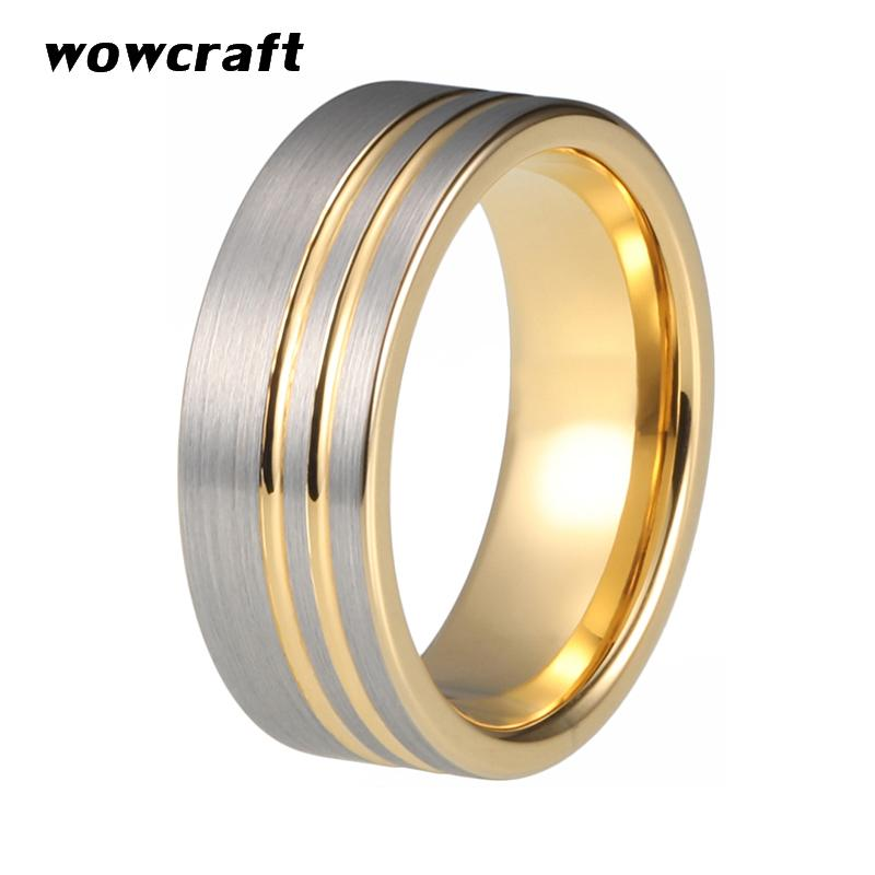 6mm 8mm Womens Mens Tungsten Carbide Wedding Band Rings Gold Flat Grooved Matte Brushed Finish Comfort Fit Personal Customize