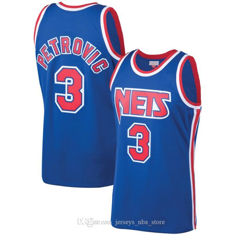 HommesNouveauJerseyNET 7 Kenny Anderson 32 Eving 3 Petrovic Mitchell Ness Blue 1993-94 Hardwoods Classics Swingman Jeux Jersey