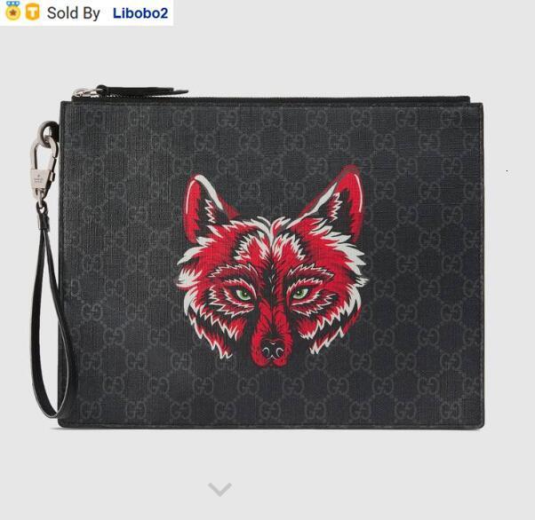 libobo2 Crossbody Wolf-узорчатого высокого класс искусственного холста сцепление MEN портмон бумажники плечо сумка 547084 Сумка пояс сумка Мини сумка Муфты
