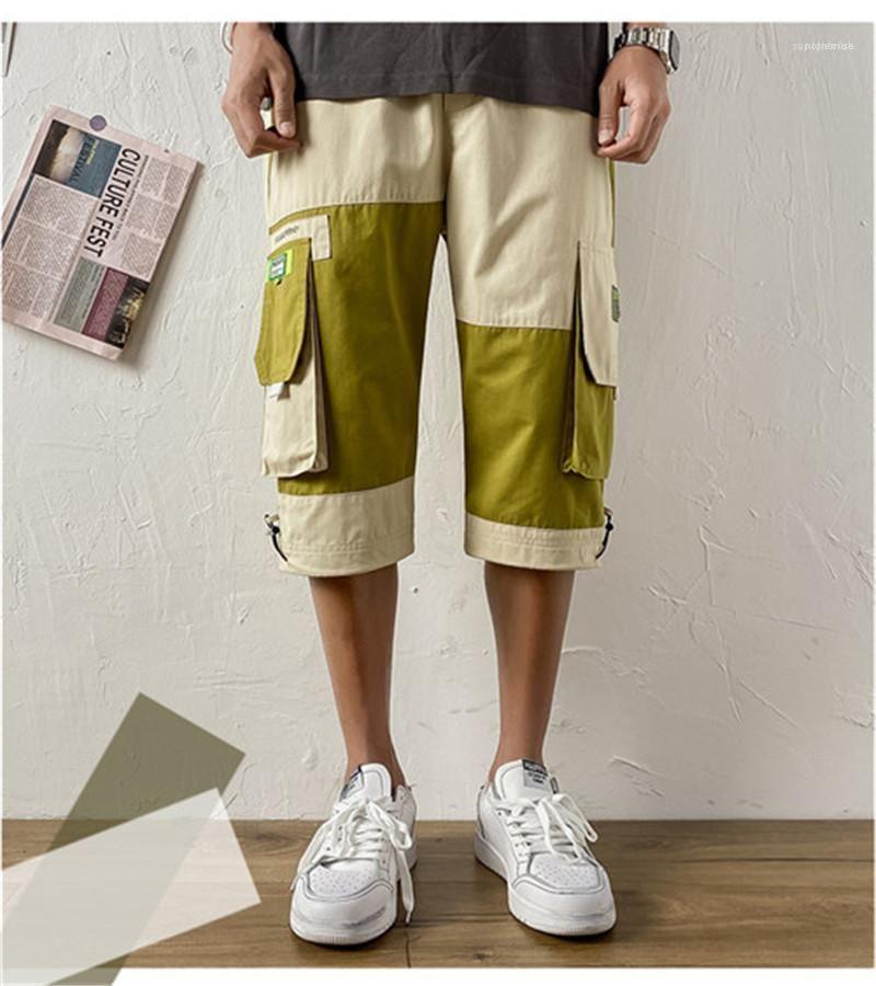 Große Taschen-Kontrast-Farben Capris Male Hosen-beiläufige Mens-Kleidungs-Sommer-Männer japanische Art Cargohose