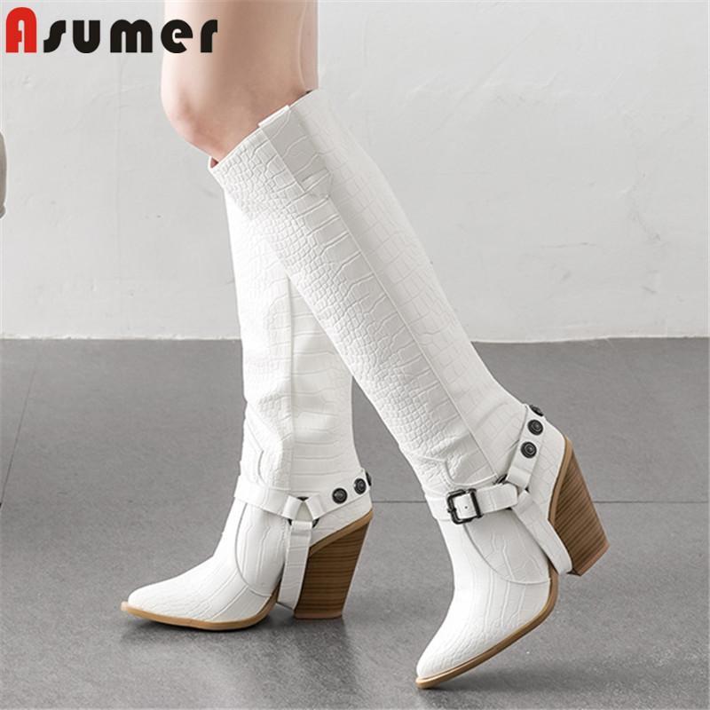 ASUMER 2020 grande taglia 46 stivali alti al ginocchio donne punta a punta incunea alta qualità scarpe da donna autunno inverno stivali western