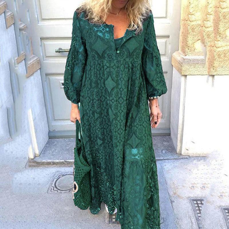 Artı boyutu 5XL Dantel Boho Kadın Uzun Elbise Hollow Out Fener Kol Elbise Kadın 2020 İlkbahar Yaz Kore vestidos Lady LJ200820
