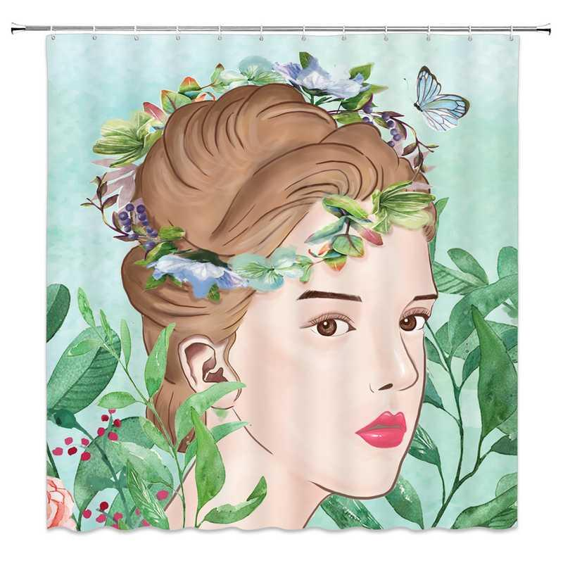 Mariposa de la manera Niñas Plato de ducha impresión impermeable baño cortina moderna cortina de ducha de las flores de la decoración del baño de la pantalla