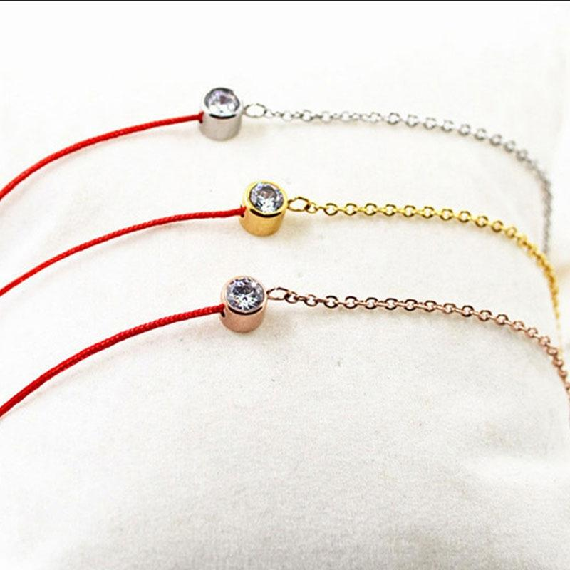 Korean gewebte rote Seil Lebensjahres Titan Stahl Roségold 18K Edelstahl Damen-Handarbeit Armband Schmuck Armband Schmuck e7iGf e7i