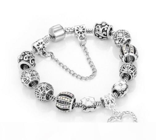 Fascino borda i braccialetti 925 misura d'argento per il braccialetto Loveheart Pendant Bangle Charm Quadrifoglio Bead come gioielli regalo di DIY donne